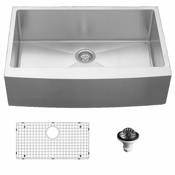 33 L x 22 W Farmhouse Kitchen Sink with Basket Strainer