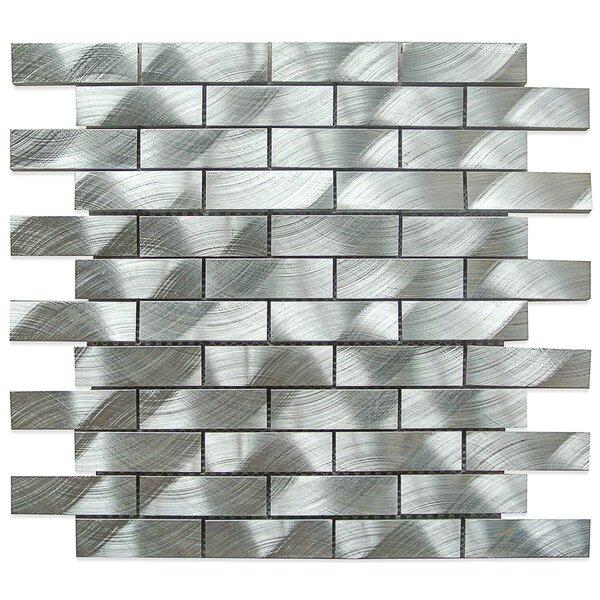 Urban 1 x 3 Metal Mosaic Tile in Brushed Silver by Splashback Tile