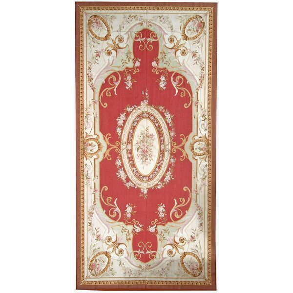 Aubusson Hand-Woven Wool Brown/Red/Cream Area Rug by Pasargad