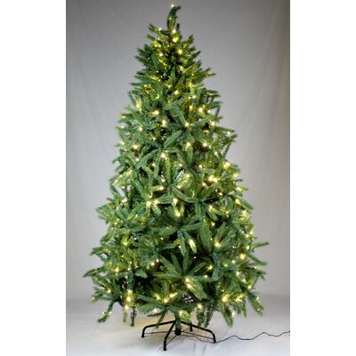 Queens of Christmas 7.5' Green Fir Trees Artificial Chritmas Tree with 350 LED Warm White
