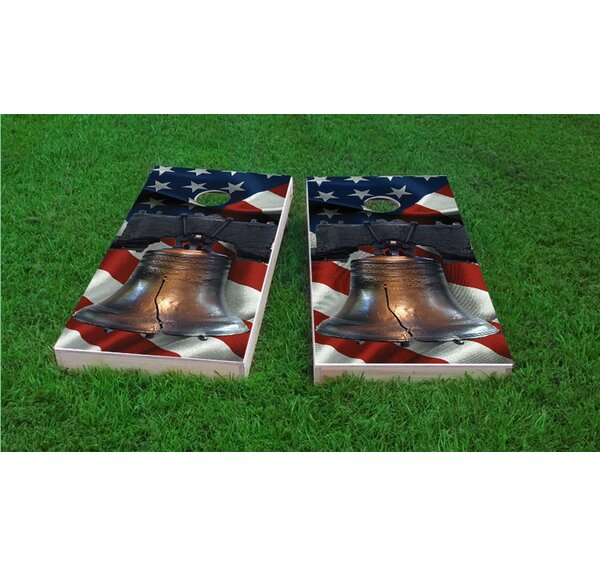 Liberty Bell Over American Flag Light Weight Cornhole Game Set by Custom Cornhole Boards