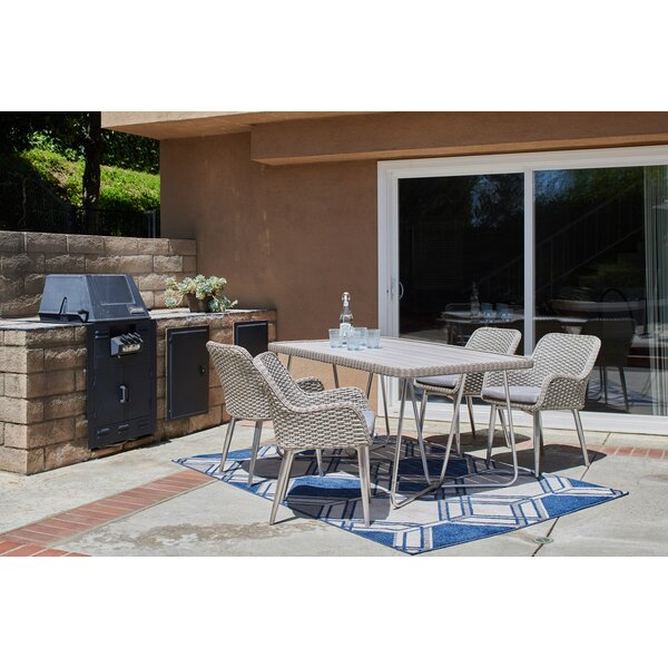 Choquette 5 Piece Patio Dining Set with Cushion by Rosecliff Heights
