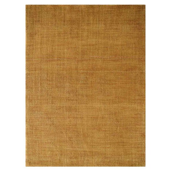 Ceniceros Solid Hand-Woven Wool Gold Area Rug by Latitude Run