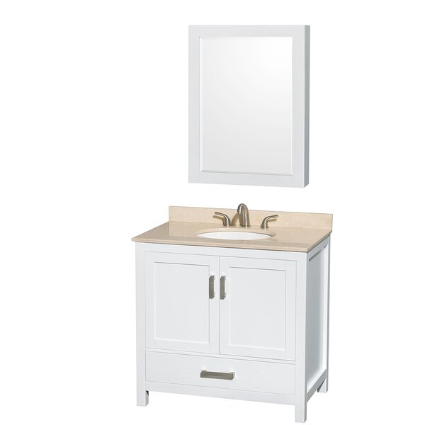 Sheffield 36 Single White Bathroom Vanity Set with Medicine Cabinet by Wyndham Collection