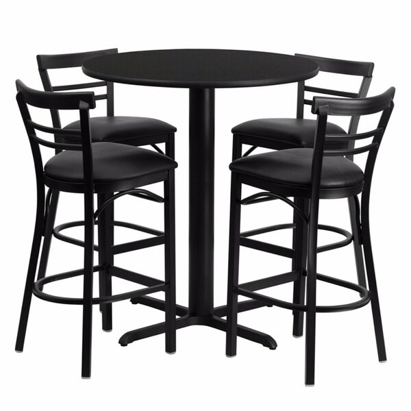 Alvarez Round Laminate 5 Piece Pedestal Pub Table Set by Red Barrel Studio