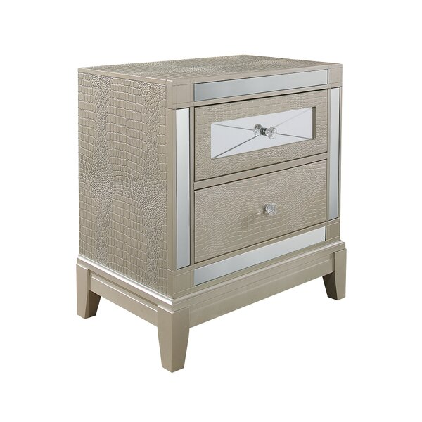 Ajax Textured 2 Drawer Nightstand by Rosdorf Park