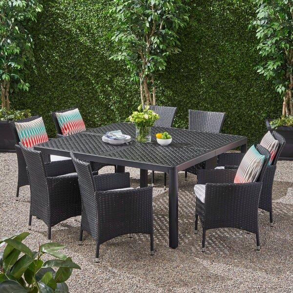 Ellenburg Outdoor 9 Piece Dining Set with Cushions by Brayden Studio
