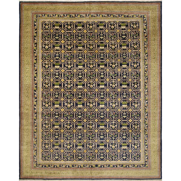 One-of-a-Kind Romona Hand-Knotted Oriental Rectangle Blue Wool Indoor Area Rug by Isabelline