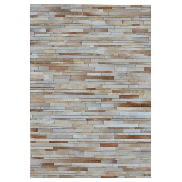 Chantalle Stripes Hand Woven Cowhide Tan Area Rug by 17 Stories