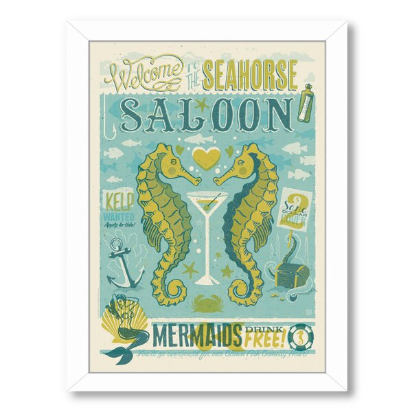 Seahorse Saloon Framed Vintage Advertisement by East Urban Home