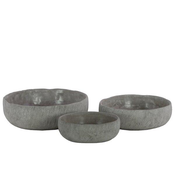 Low Round 3-Piece Cement Pot Planter Set by Urban Trends