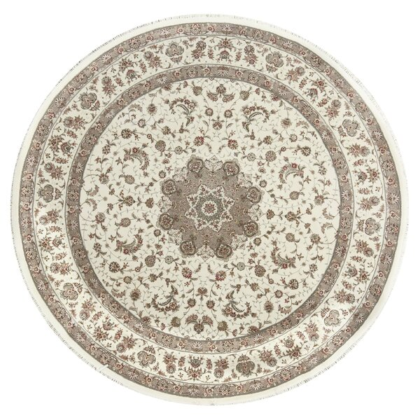 One-of-a-Kind Elegance Select Handwoven Round 10' Wool/Silk Beige Area Rug