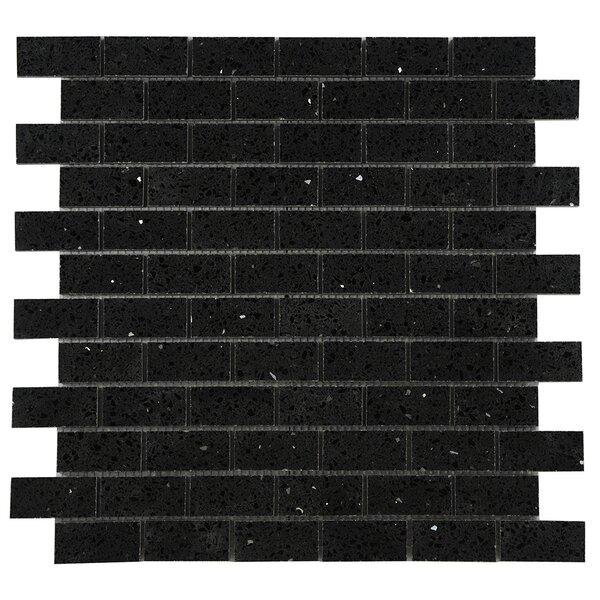 Quartz Engineered Stone Tile in Black by Byzantin Mosaic