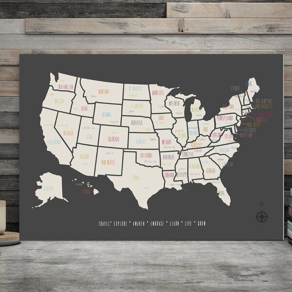 Ritvik USA Map Paper Print by Harriet Bee