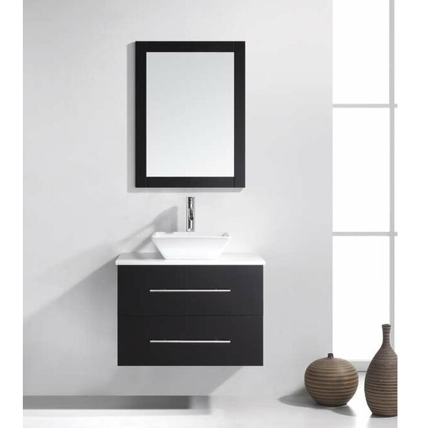 Decastro 30 Single Bathroom Vanity Set with White Stone Top and Mirror by Mercury Row