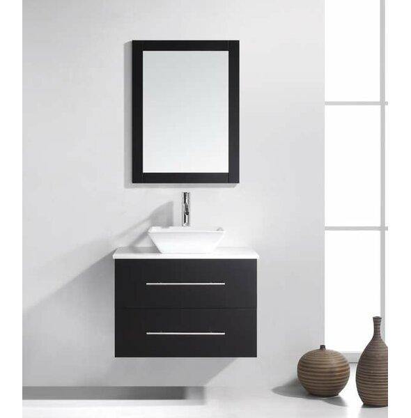 Decastro 30 Single Bathroom Vanity Set with White Stone Top and Mirror by Mercury Row