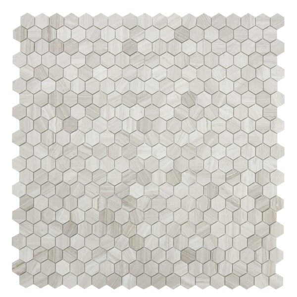 Cooper Hexagon 1'' x 1'' Marble Mosaic Tile in White by Maykke
