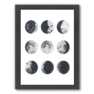 Moon Phases Watercolor I Framed Graphic Art by Zipcode Design