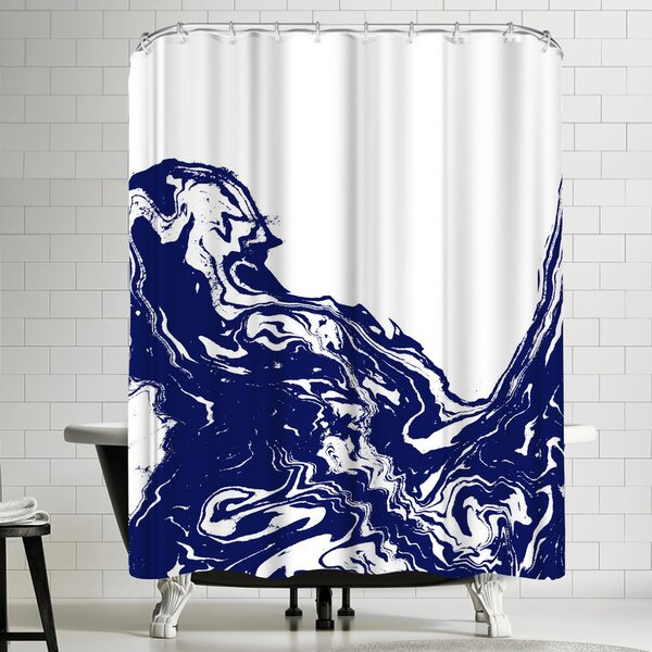 Indigo Wave Shower Curtain by East Urban Home