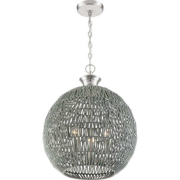 Shockey 3-Light Unique / Statement Globe Chandelier by World Menagerie World Menagerie