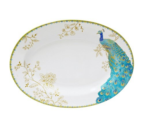 Peacock Garden Oval Platter by 222 Fifth