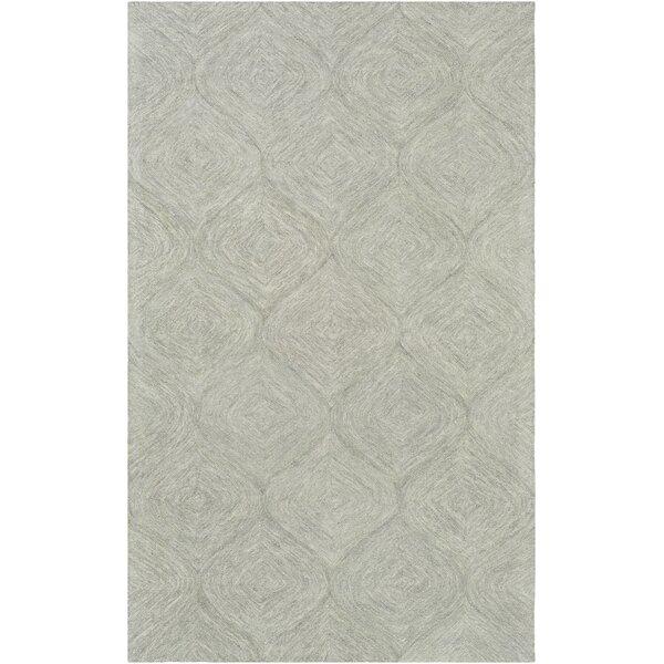 Bloch Hand-Tufted Wool Seafoam/Dark Green Area Rug by Wrought Studio