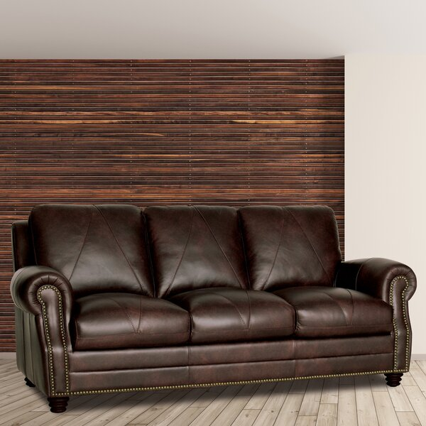 Perfect Cost Gardner Leather Sofa by Darby Home Co by Darby Home Co