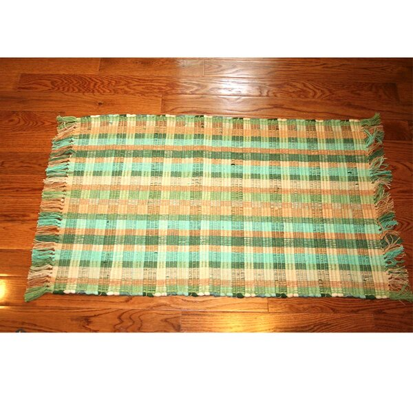 One-of-a-Kind Linmore Ticking Check Hand-Woven Green Area Rug by Bay Isle Home