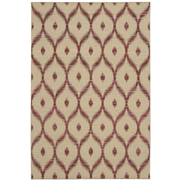 Pine Grove Hand-Woven Beige/Burgundy Area Rug by Bloomsbury Market