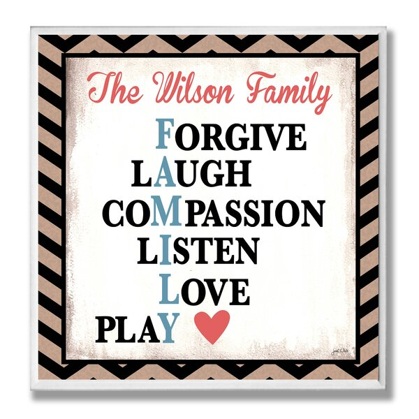Personalized Family Rules Chevron Textual Art Plaque by Stupell Industries