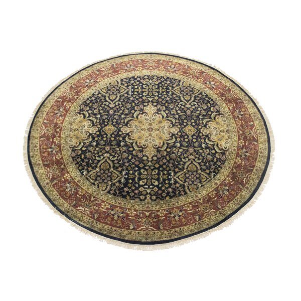 Round Anni Oriental Hand-Knotted Wool Black Area Rug