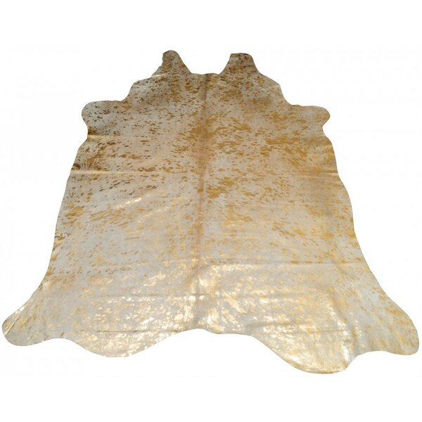 Houchin Cowhide Natural/Gold Area Rug by Brayden Studio