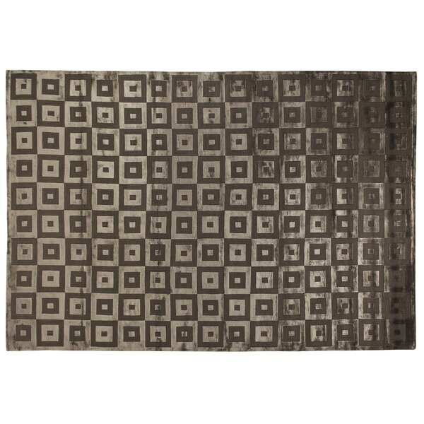 Hand-Knotted Wool/Silk Khaki Area Rug by Exquisite Rugs
