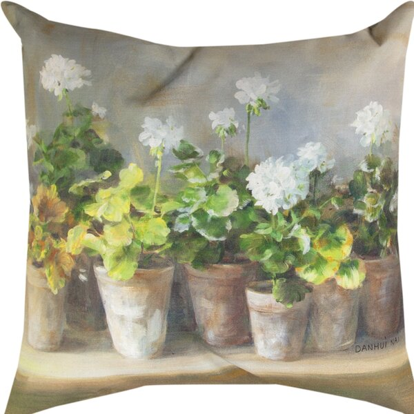 Geraniums Throw Pillow by Manual Woodworkers & Weavers