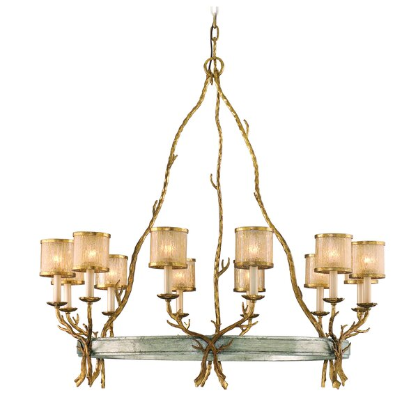Parc Royale 12-Light Shaded Wagon Wheel Chandelier by Corbett Lighting Corbett Lighting