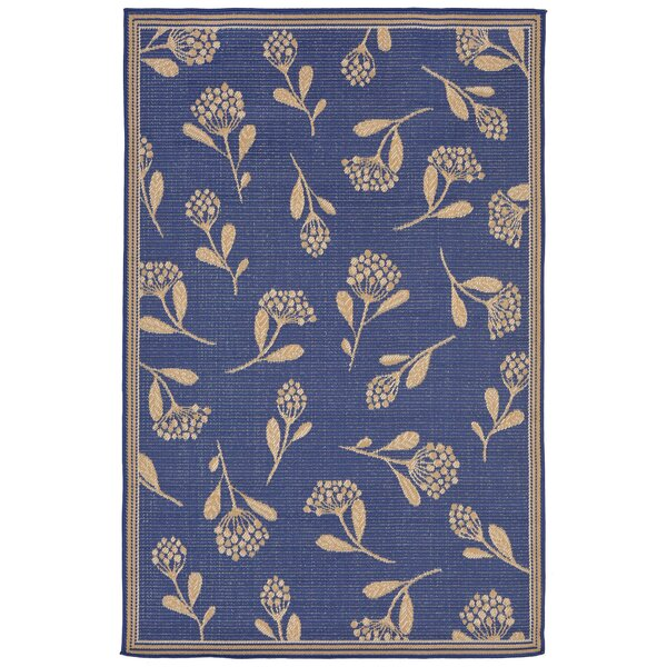 Venetian Summer Flower Power Loom Blue Indoor/Outdoor Area Rug by Charlton Home