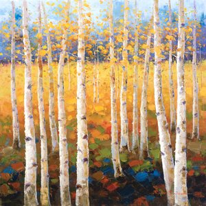'Birch Forest' Painting Print on Wrapped Canvas by Three Posts