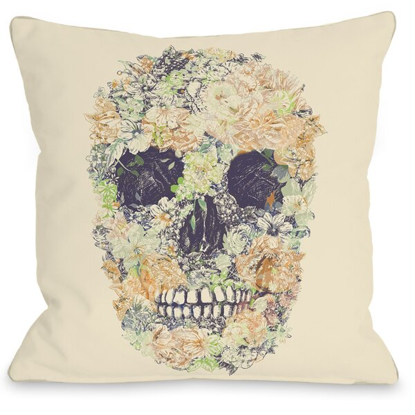 Dia Muertos Skull Flowers 2 Throw Pillow by One Bella Casa