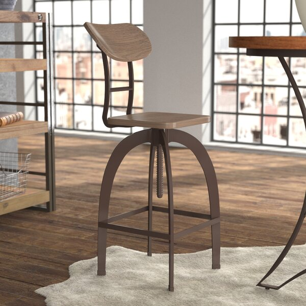 Rhodes Adjustable Height Brown Bar Stool by 17 Stories