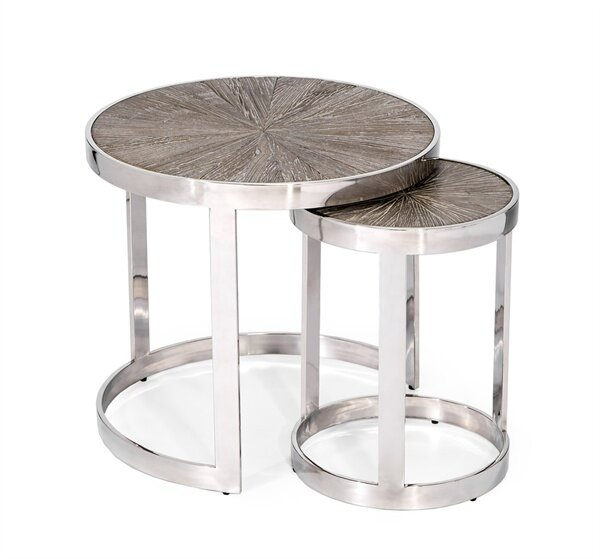 Solid Wood Frame Nesting Tables By Interlude