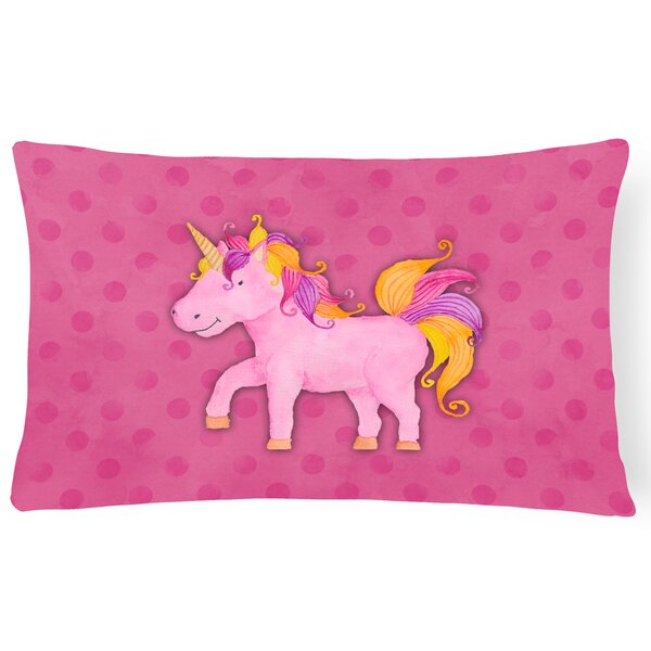 Sean Unicorn Watercolor Lumbar Pillow by Zoomie Kids