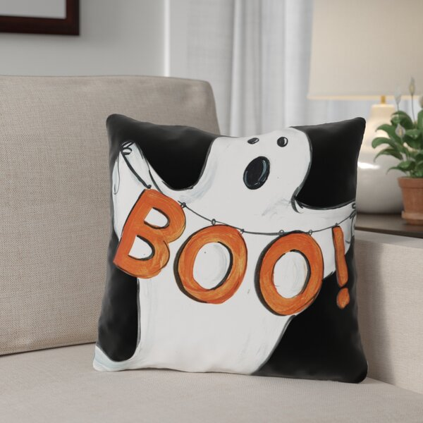Halloween Ghost Boo Throw Pillow by The Holiday Aisle