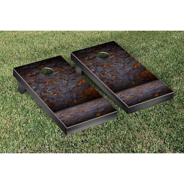 Grungy Metal Themed Cornhole Game Set by Victory Tailgate