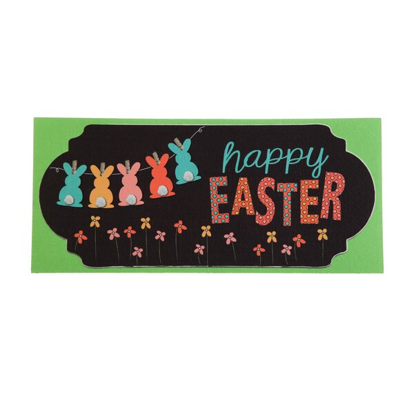 Happy Easter Chalkboard Banner Sassafras Switch Doormat by The Holiday Aisle