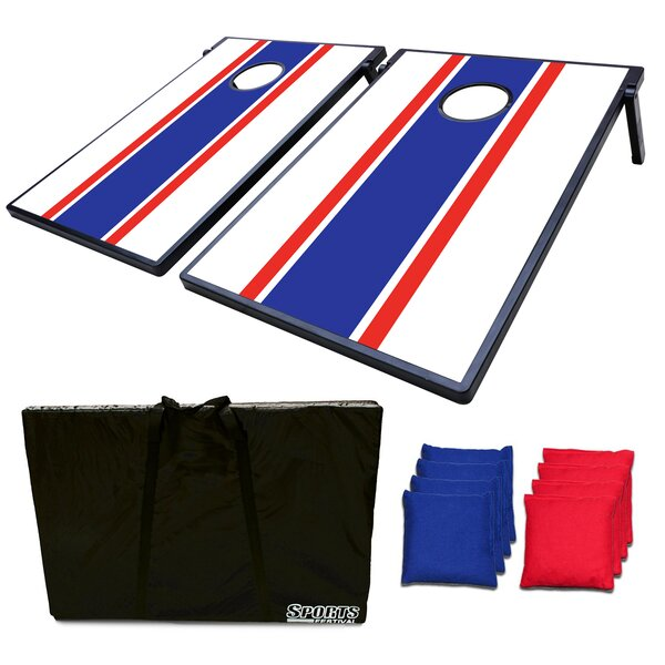 2-in-1 Toss Game and Tic Tac Toe Cornhole Board by Festival Depot