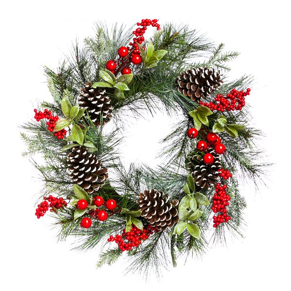 Holly and Pinecone Wreath by Three Posts