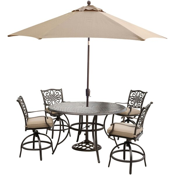 Carleton 5 Piece Bar Height Dining Set with Cushions and Umbrella by Fleur De Lis Living