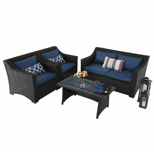 Northampt Outdoor 4 Piece Rattan Sofa Seating Group with Cushions by Ivy Bronx