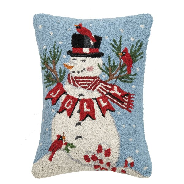 Fidel Jolly Snowman Hook Wool Throw Pillow by The Holiday Aisle