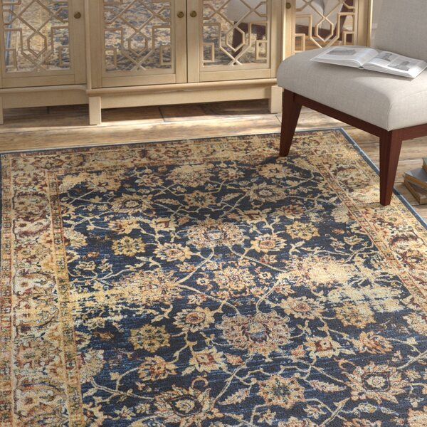 Rosana Brown/Blue Floral Area Rug by Bloomsbury Market